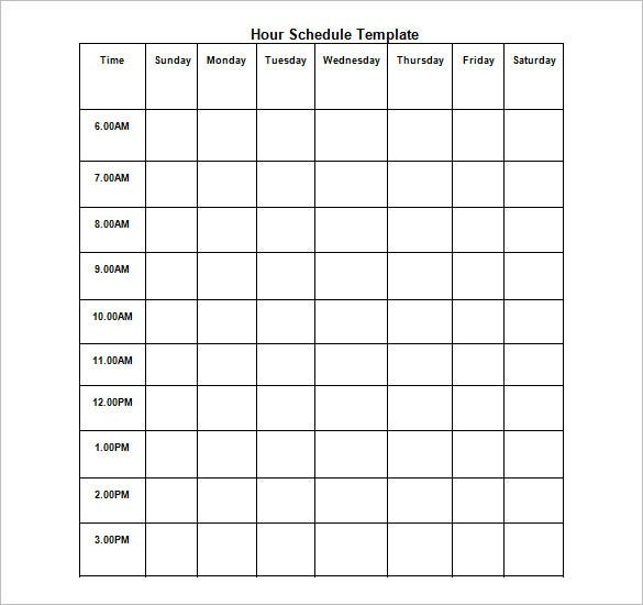 Hourly Schedule Template   Free Word Excel Pdf Format  Free