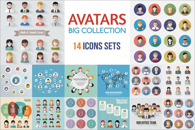 229945 people avatars icons flat collection