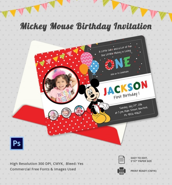 Cute Micky Mouse First Birthday Invitation Template