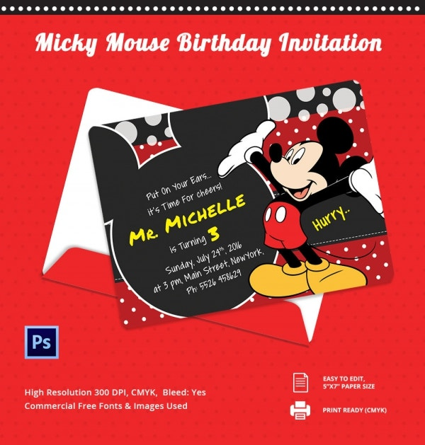 Cutomizable Micky Mouse Birthday Invitation Template