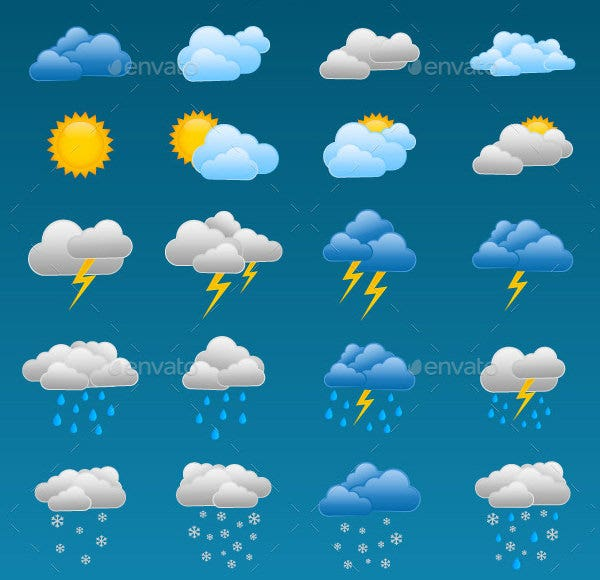 24 colorful weather icons suite