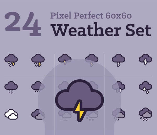 24 pretty weather icons set