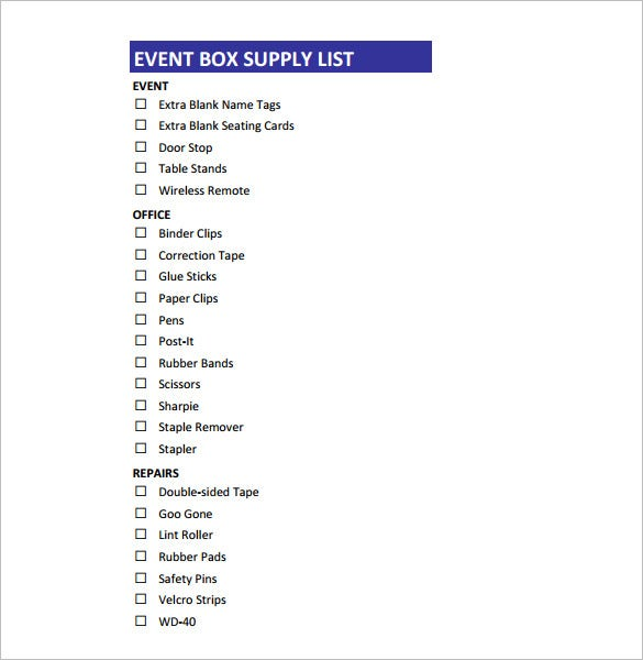 event box supply list