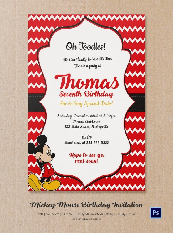 Premium Mickey Mouse Birthday Invitation