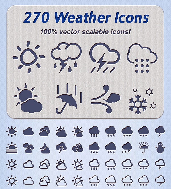 270 awesome weather icons set