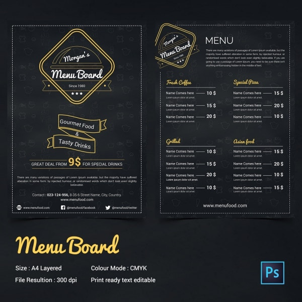18+ Chalkboard Menu Templates – Free Sample, Example Format