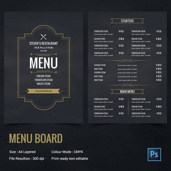 18 chalkboard menu templates free sample example format download free premium templates. Black Bedroom Furniture Sets. Home Design Ideas