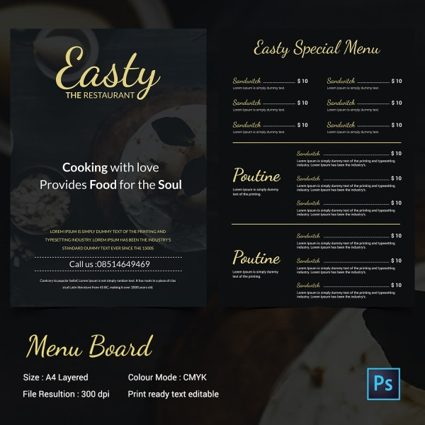 chalkboard menu template 30 free psd eps format download free premium templates. Black Bedroom Furniture Sets. Home Design Ideas