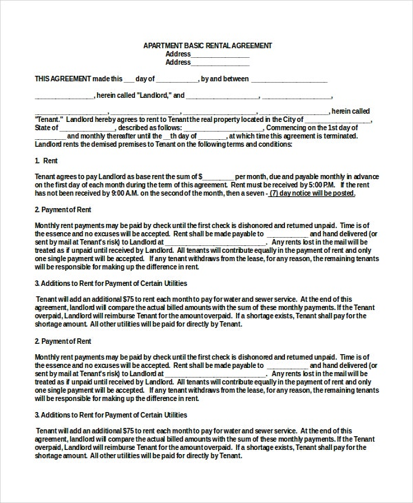 apartment basic rental agreement template