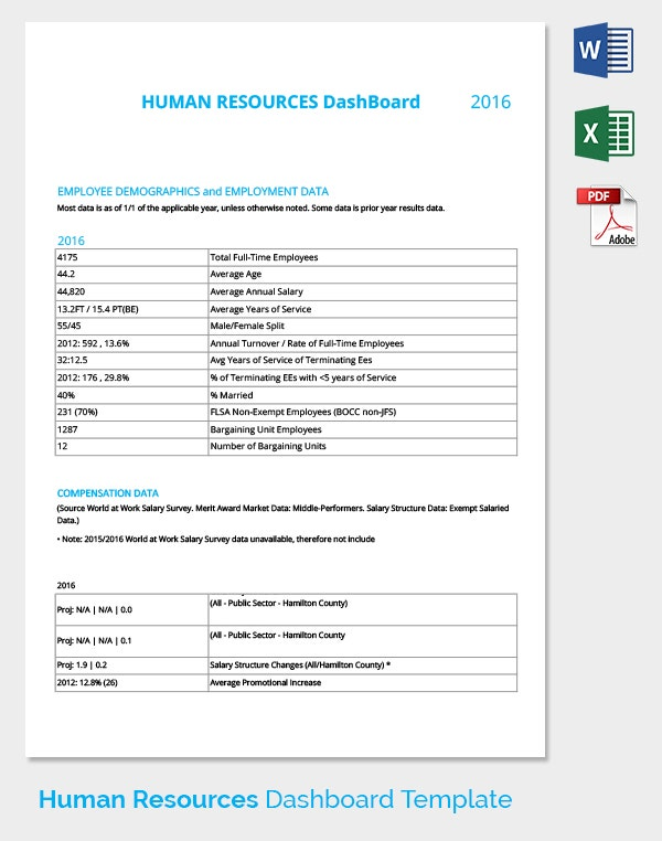 HR Dashboard Employment Data Template