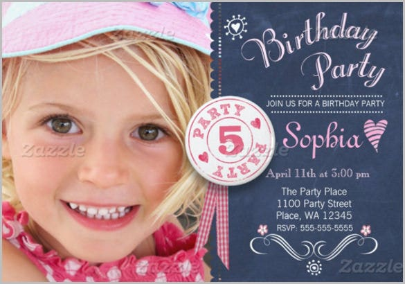 birthday party invitation girl chalkboard invitation for girls