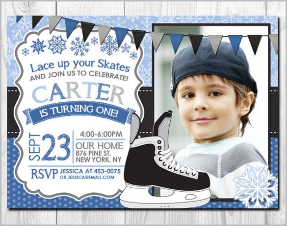 ice skates boy photo birthday invitation