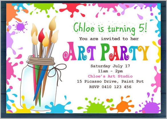simple art party invitation for kids