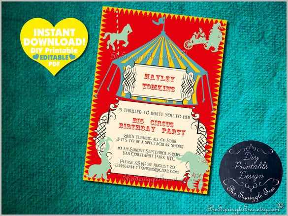 circus birthday party invitation diy children kid