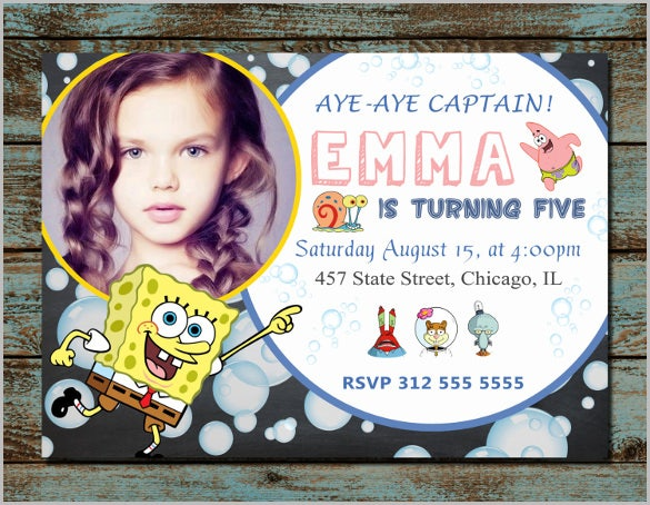 spongebob chalkboard kids invitation spongebob kids birthday
