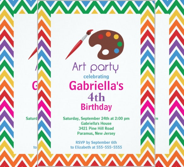 Arts Crafts Kids Birthday Party Invitation Card Download