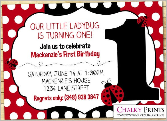 1st Birthday Ladybug Invitations Kids Invitation