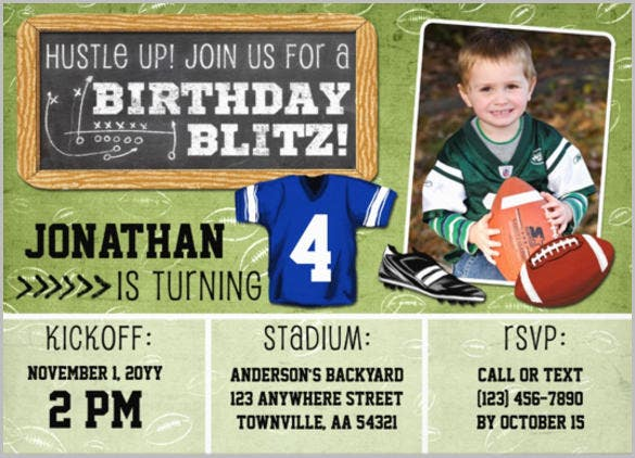 green football blitz kids birthday party invitation