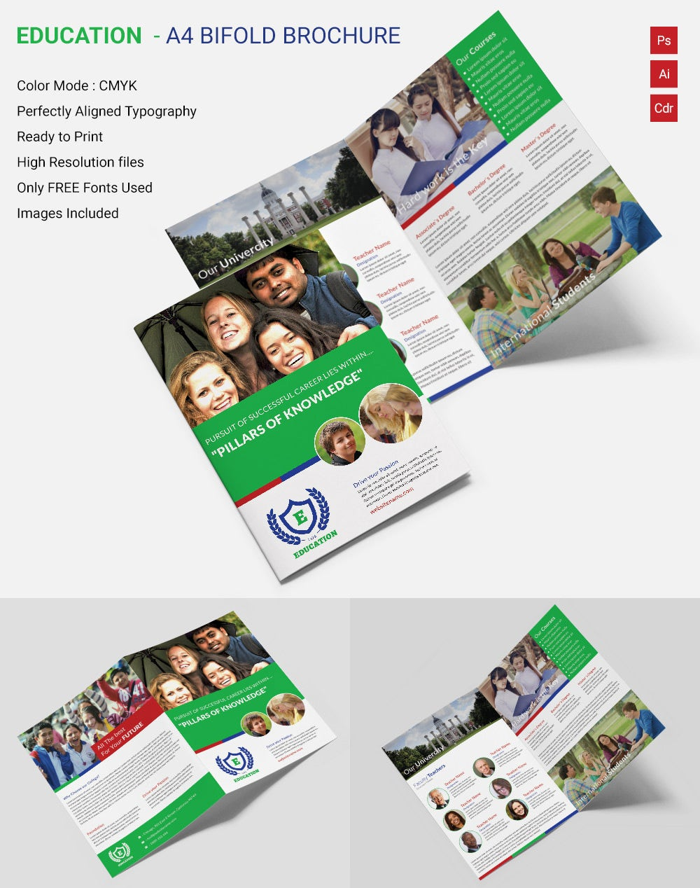 Innovative Education A Bi Fold Brochure Template Free Premium - Bi fold brochure template indesign