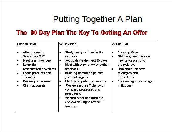 37  30 60 90 day plan templates