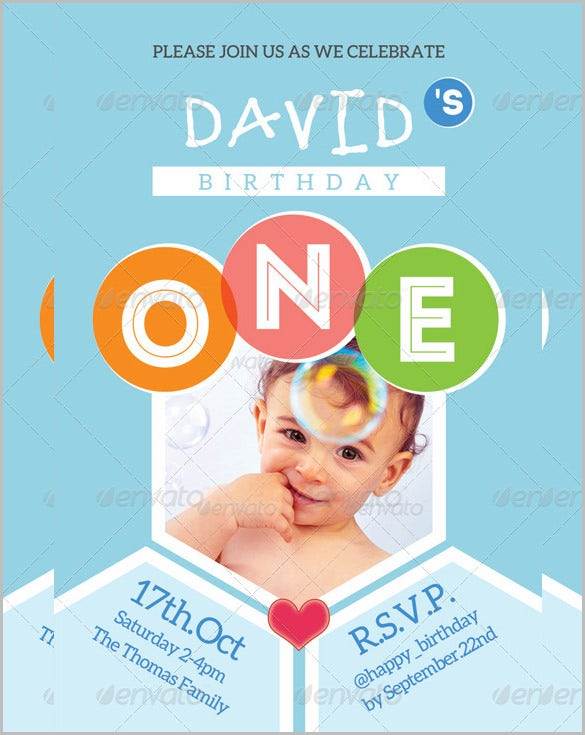 blue kid happy birthday card invitation template