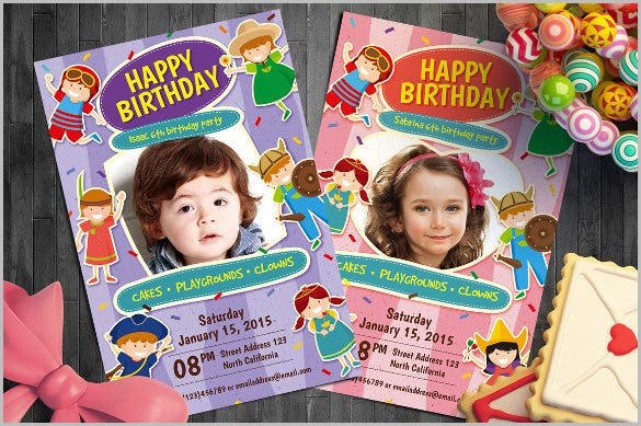 twins kids birthday party invitation