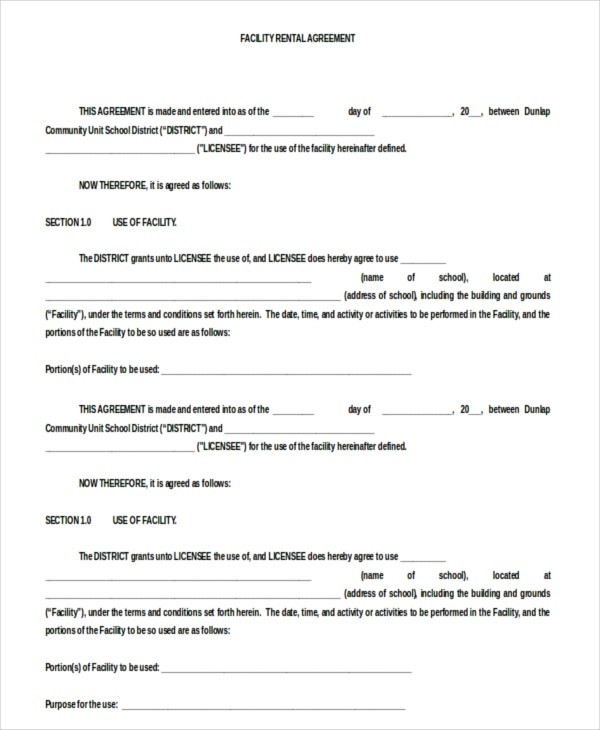 Doc Format Facility Blank Rental Agreement Download for Free