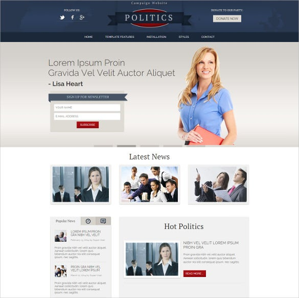 hot politics joomla template