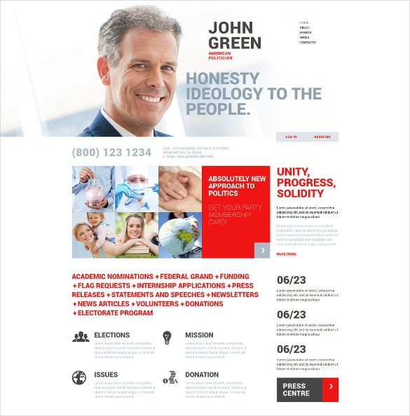 politicians joomla theme