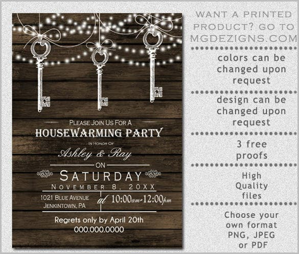 Vintage Keys Hanging Rustic Housewarming Party Invitation