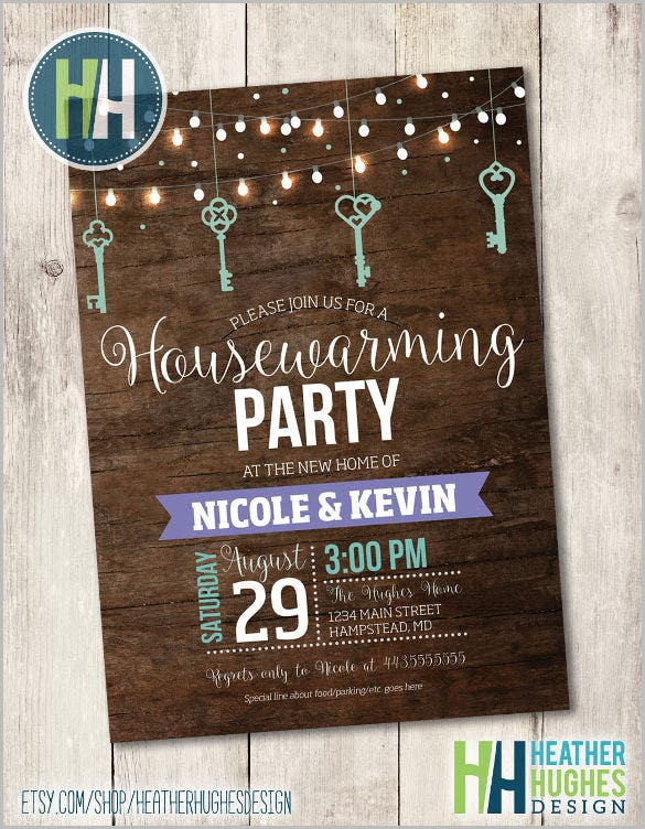 housewarming party invite hanging lights and keys invitation