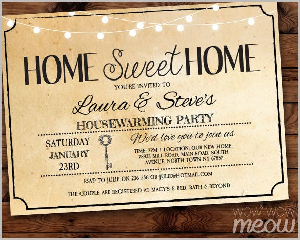 housewarming invitation home sweet home new house invite party vintage key