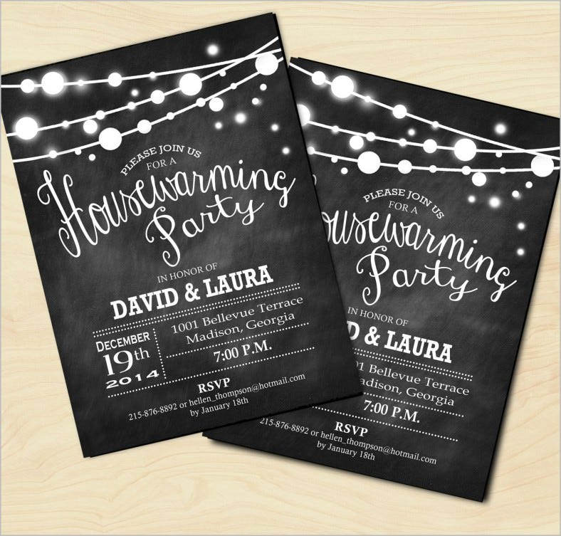 chalkboard housewarming invitation fairy string lights 788x753