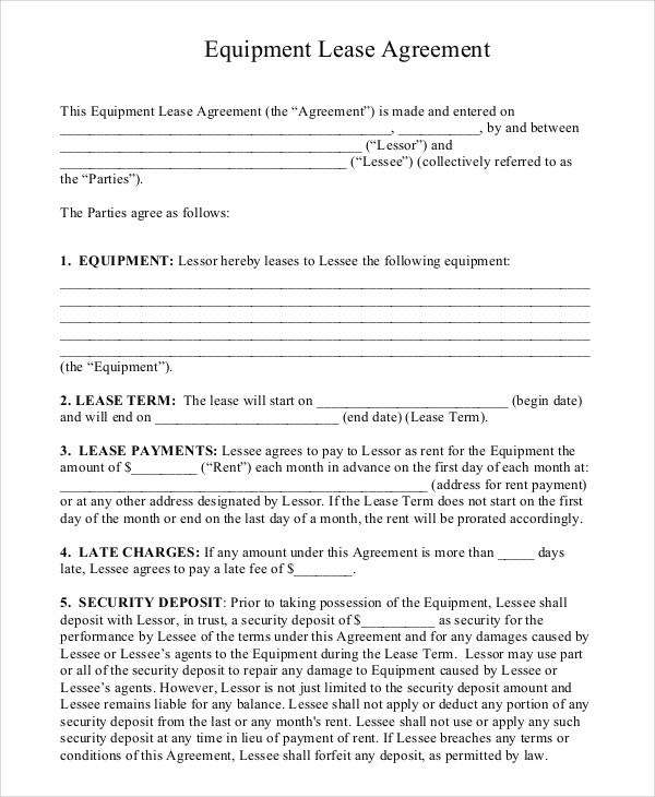 Equipment Rental Agreement 8 Free Word PDF Documents Download – Equipment Lease Form Template