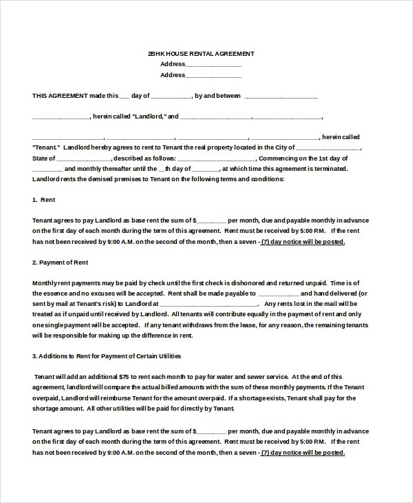 2BHK House Rental Agreement Doc Download for Free