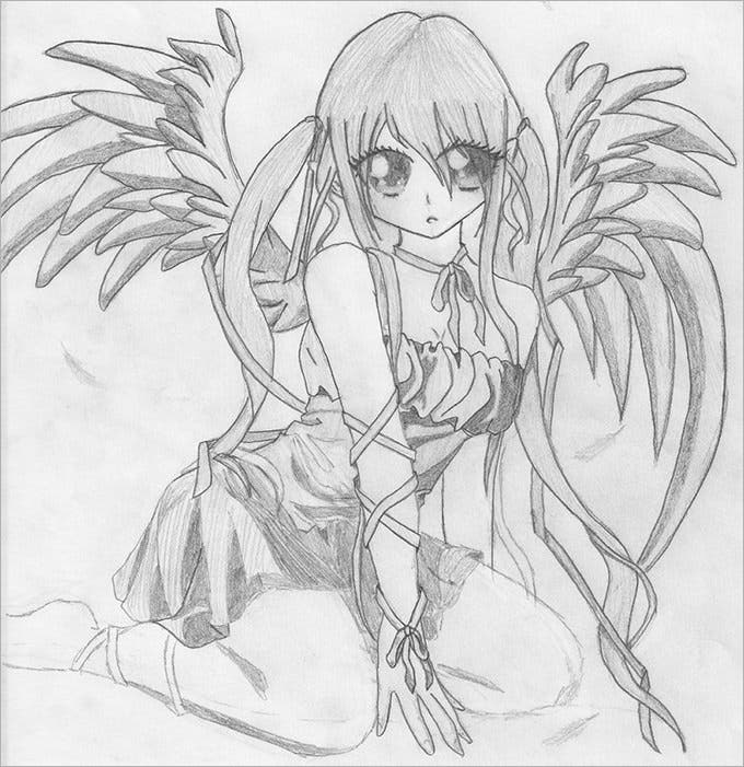 31096 angel pencil sketch by dragon