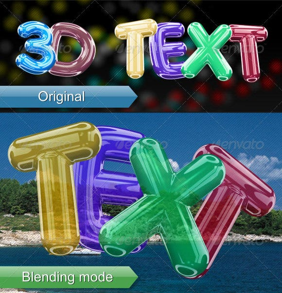 3d bubble font with baloon effect
