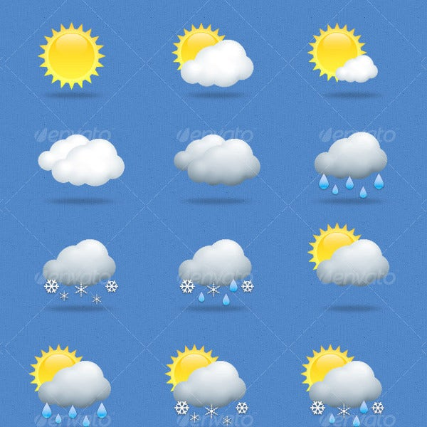 4 different weather icons set