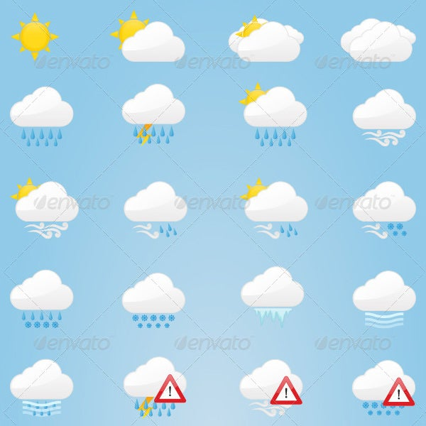 40 themed weather icons set