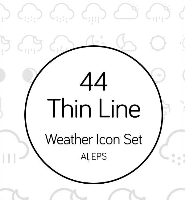 44 thin line weather icons 1
