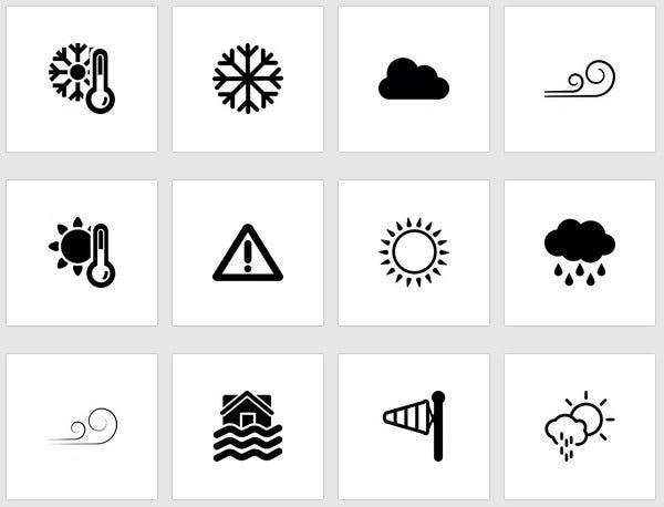 477 sober looking weather icons