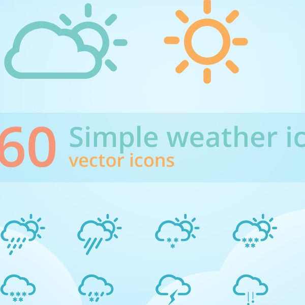 60 simply weather icons set
