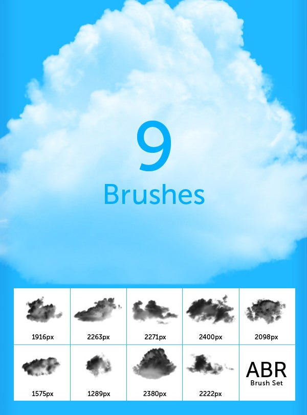 9 cloud brushes for photoshop