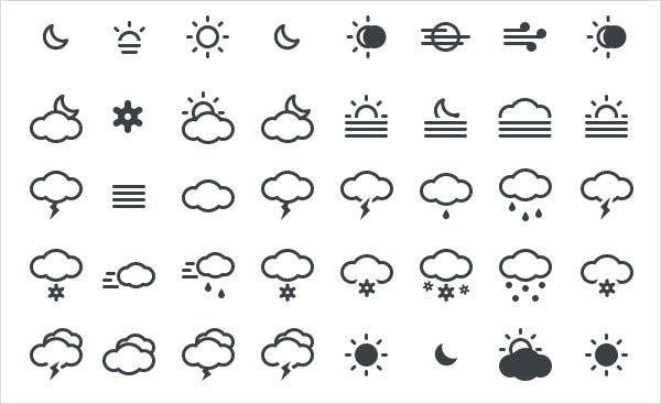 90 superb weather icon set 1