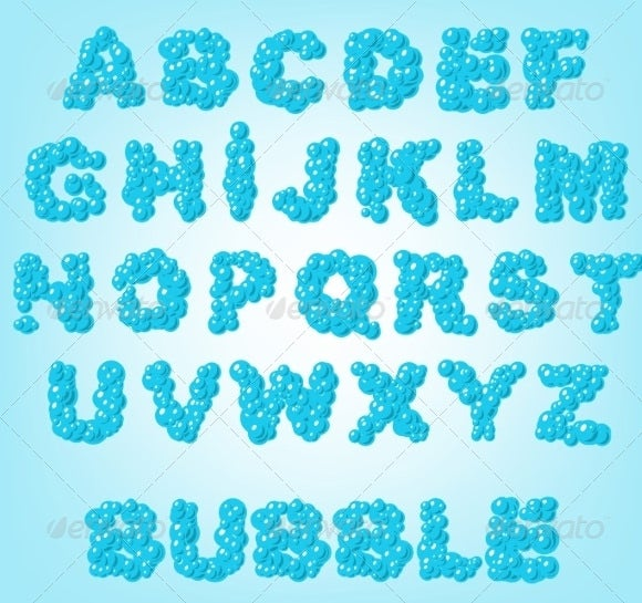 abstract blue color bubble alphabets