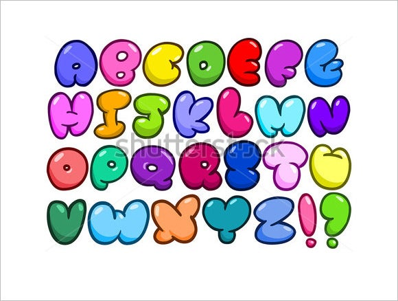 abstract comic bubble shape alphabets