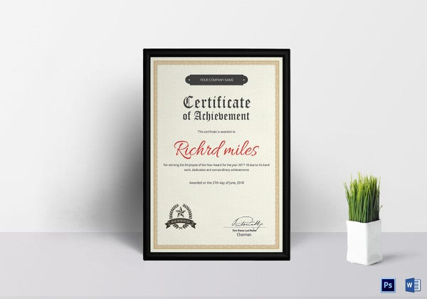 Achievement Certificate Template  Certificate Templates For Word