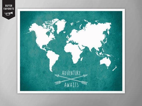 adventurous world map poster