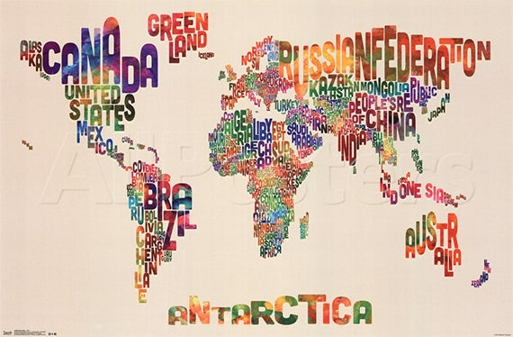 alphabetical world map poster