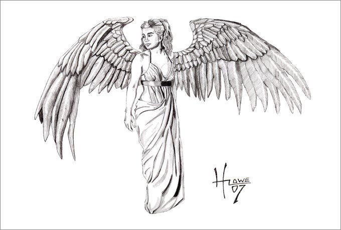 This pencil sketch of an angel is the ultimate one if youre searching for a pragmatic tattoo this angel drawing has a dramatic tone which brings out the